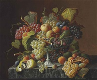 still life with fruit and leaves by severin roesen
