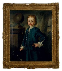 portrait of a young boy wearing a blue coat, standing in a landscape by john lewis