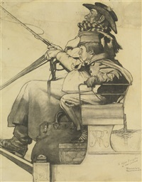study for the christmas coach (dover coach) by norman rockwell
