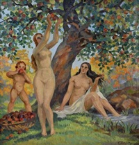 nu et enfant sous les arbres by gabriel moiselet