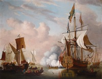 a royal yacht (possibly the carolina) firing a salute and other boats in a busy shipping scene by peter monamy