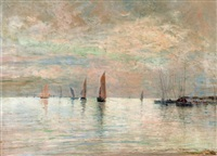 paysage maritime, le havre by maurice françois auguste courant