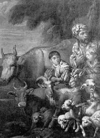 cowherd with his two sons and livestock by arcangelo resani