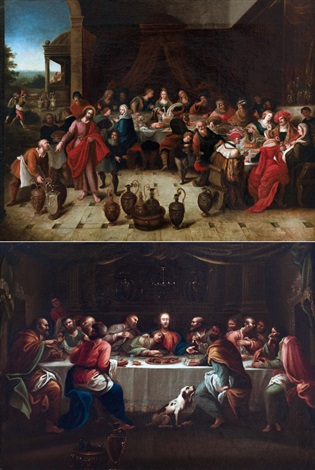 ultima cena e le nozze di cana pair by frans francken the younger