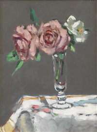 double pink and white roses by frederick mcduff