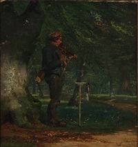 the travelling fidler, niels hemmingsen, at the entrance to dyrehaven, north of copenhagen by david monies
