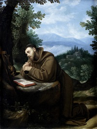 saint francis in meditation by cristofano allori