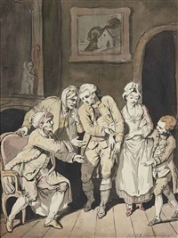a patriarch remonstrating with his family in a interior (recto); sketch for the same composition (verso) by pierre alexandre wille