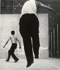 handball players, houston street by leon levinstein
