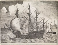 man of war sailing to the left, in the background a town (engraved by frans huys) by pieter brueghel the elder
