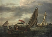 small dutch sailing vessels near the coastline of the city of dordrecht, a group of figures on the shore in the foreground by adam silo