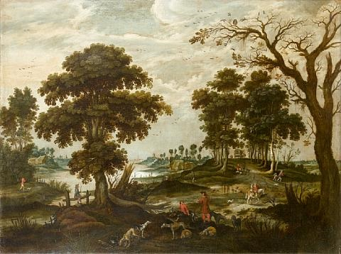 an elegant company departing for the hunt a river landscape with fishermen pair by jan wildens