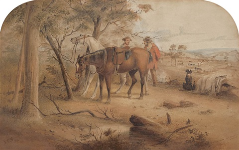 stockmen on camping ground by samuel thomas gill