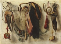a trompe l'oeil of hawking equipment, including a glove, a net, and falconry hoods, hanging on a wall by christoffel pierson