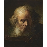 head of a bearded old man, reading a book by jacques des rousseaux
