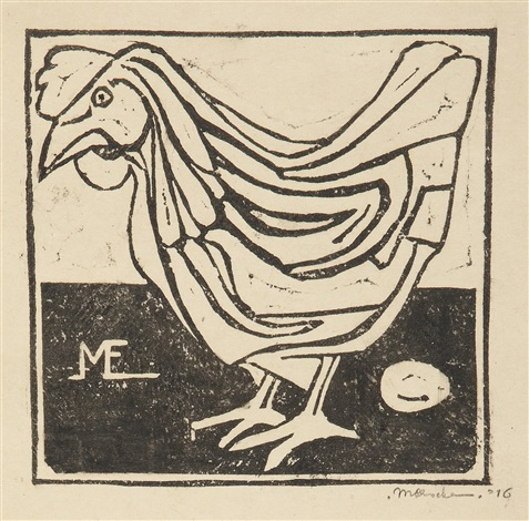 hen with egg by m c escher
