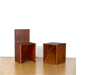 untitled (chair and stool) (in 2 parts) by donald judd