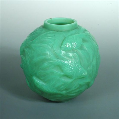 Formose, an R  Lalique green cased glass vase, by René