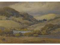 rolling hills and oaks by percy gray