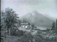 landschaft an einem gebirgssee by joseph altenkopf