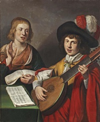 a couple making music by gerrit van honthorst