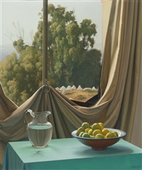 still life with landscape by claudio bravo