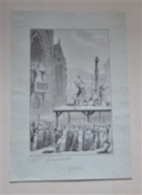 crime des papes (preliminary drawing) (+ 2 engravings; 3 works) by pierre nicolas ransonette