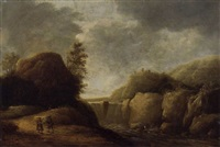 a mountainous landscape with travellers on a path by a waterfall by gerrit (gerard) battem