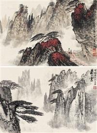 黄山图 镜心 设色纸本 (2 works) by song wenzhi and wei zixi