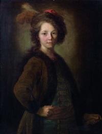 portrait d'un jeune garçon en costume polonais by alexis grimou