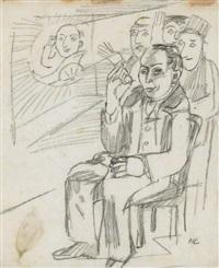 ohne titel (sitzender mit gruppe) by oskar kokoschka