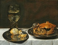 still life of a roemer, lemon and a meat pie by roelof koets the elder