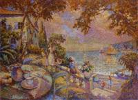 l'heure du thé dans une villa provençale en bord de mer by eugène bégarat