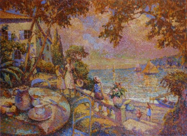 lheure du thé dans une villa provençale en bord de mer by eugène bégarat