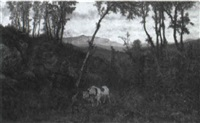 ox drawn canon in the woods by alexander ferdinand wust