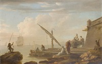 a mediterranean harbour with fishermen and figures in oriental and classical costume by pierre françois le roy