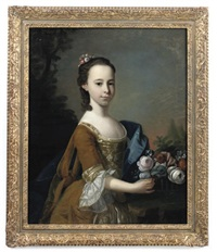 portrait of a young girl in a gold dress with a blue wrap, holding a basket of flowers by henry pickering