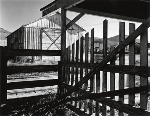 corral and barn, litchfield, ca by ansel adams