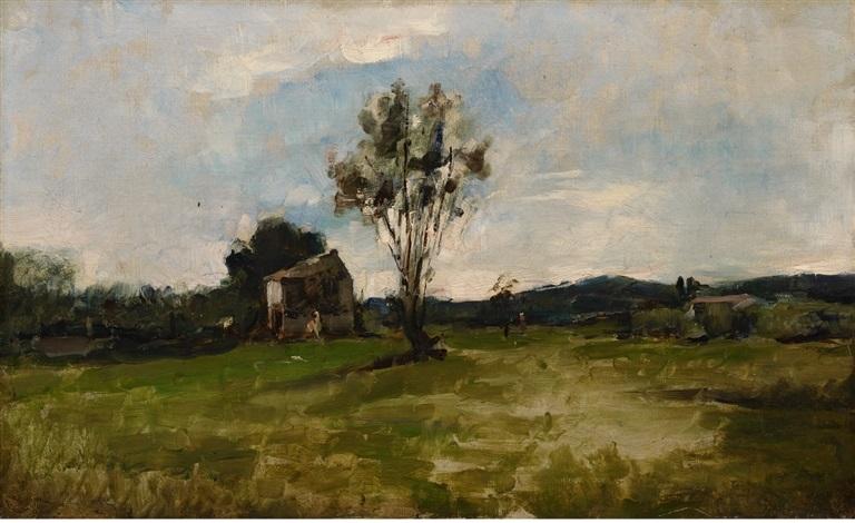 paysage cabane et arbre by charles françois daubigny