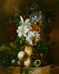a still life of flowers and fruit by anna maria van veeren