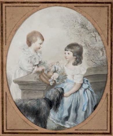 portrait de deux enfants avec leur chien by firmin massot