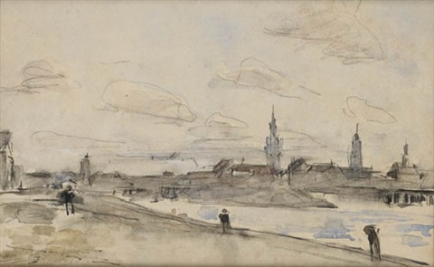 vue dun port anvers by eugène boudin