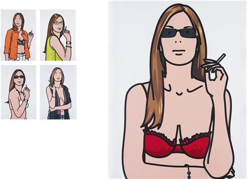 ruth smoking i v set of 5 by julian opie