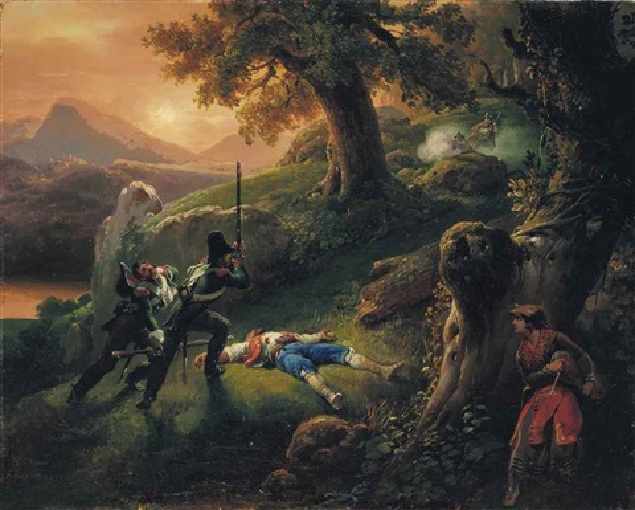 attaque de contrebandiers dans un sous bois by emile jean horace vernet