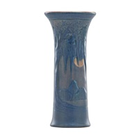 fine cylindrical vase decorated with live oaks by anna frances connor simpson