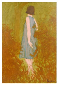 woman in blue dress by william anzalone