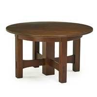 five-leg cross-stretcher dining table by gustav stickley