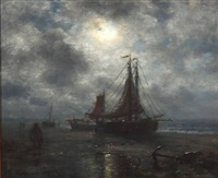 drawn up fishing boats on the beach in moonlight by wilhelm ferdinand xylander