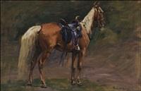 saddled palomino by richard lorenz