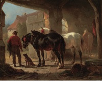 groom with horses and a dog in a stable by wouter verschuur the elder